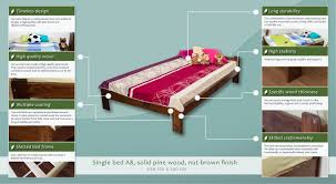 single bed guest bed a8 solid pine wood nut finish incl