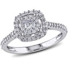 2 carat white gold engagement ring miabella 1 2 carat t w certified 10kt white gold
