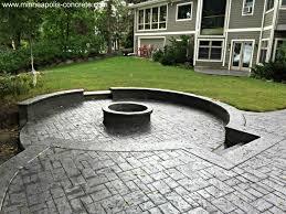 Backyard Stamped Concrete Patio Ideas Cement Patio Stamped Concrete Patio With Firepit Stamped