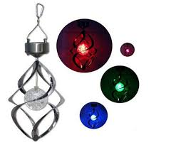 solar powered wind chime light new special colorful led solar wind chime light ball spiral