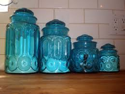kitchen canister set blue glass kitchen canisters martha stewart collection kitchen