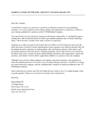 Cover Letter For Writing Sample Sample Cover Letter For A Recent College Graduate Résumé