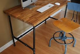 Modern Industrial Desk Industrial Desk With Oak Top And Steel Pipe Legs By Urban Wood