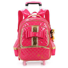 book bags with bows 2018 pink bow trolley school bags for kids high quality pu leather
