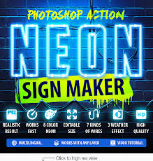 neon light font generator neon sign maker photoshop action by lil bro graphicriver