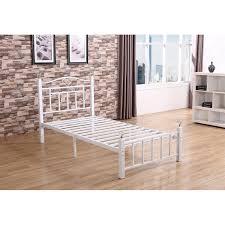 elegant and dramatic look white metal bed frame u2014 derektime design