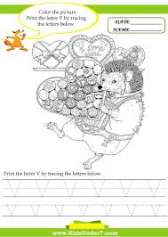 kids under 7 alphabet worksheets trace and print letter v