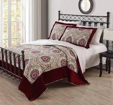 emilia burgundy velvet quilt set
