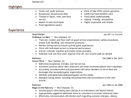 Waitress Job Resume by Head Waiter Responsibilities Resume Contegri Com