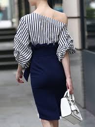 navy blue sheath elegant stripes midi dress stylewe com