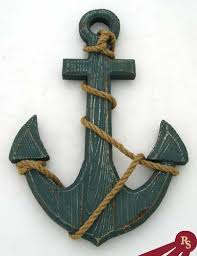 18 wooden boat anchor with crossbar nautical decor