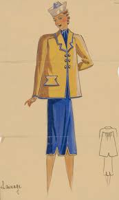 royal blue dress and yellow jacket with gold buttons and blue trim