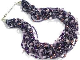 natural beads necklace images Natural amethyst necklace purple necklace multi strand beaded jpg