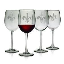 amazon com susquehanna glass fleur de lis sand etched wine