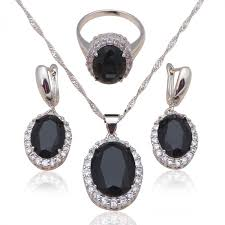 black gem necklace images Black zirconia inlay silver stamped cool fashion jewelry set for jpeg