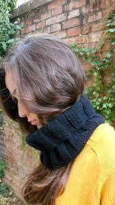 cashmere 100 hand knit black cowl scarf unisex infinity loop