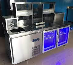 1 5m stainless steel blue light worktable fridge salad worktop
