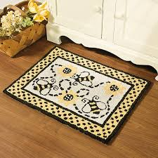 bumble bee print cotton hooked floor rug home decor accent new