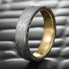 wedding bands flat damascus steel men s wedding band with 14k gold