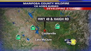 Wildfire Map Mariposa by Wildfire Chars 130 Acres North Of Coulterville Abc30 Com