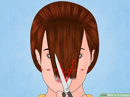 cutting hair so it curves under how to cut bangs with pictures wikihow