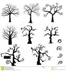 halloween trees set stock vector image of horror illustration