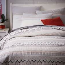 organic nordic stripe jacquard duvet from west elm beds