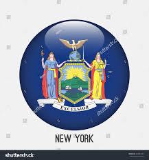 New Yorks Flag New York Flag Circle Shape Transparentglossyglass Stock Vector