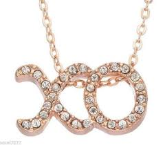 rose gold crystal necklace images Juicy couture xo rose gold tone pendant crystals necklace hugs JPG