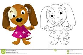 cartoon dog coloring page with preview stock illustration