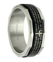 christian wedding bands mens stainless steel band prayer inlay