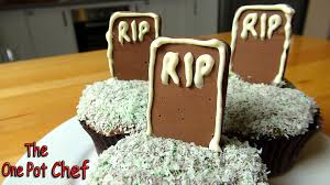Halloween Grave Cake Tombstone Cupcakes One Pot Chef Youtube
