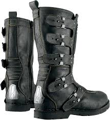 black leather moto boots mens icon one thousand 1000 elsinore johnny black leather