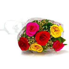 colorful roses buy six stem of colorful roses bunch online at best price in india