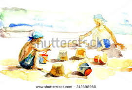 beach scene children playing stock images royalty free images