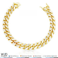 chain bracelet with diamond images Yellow gold over silver diamond cut 12mm wide miami cuban link jpg