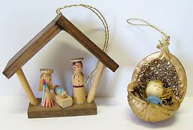 vintage wooden erzgebirge germany nativity manger creche walnut