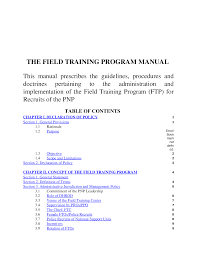 manual for the field training program ftp for pnp police