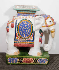 midcentury pair of colorful asian inspired ceramic elephant garden