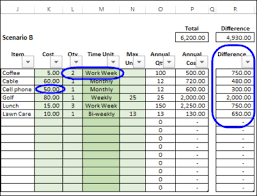 Excel Costing Template Calculate Annual Costs And Savings In Excel Contextures