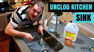 how to unclog my sink how to unclog a kitchen sink using baking soda and vinegar youtube