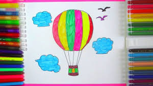 how to draw air balloon drawing and coloring parachute for