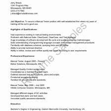 qa manual tester sample resume luxury manual test engineer sample