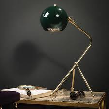 le de bureau laiton le de bureau tubulaire laiton avec abat jour rond vert