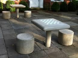 Chess Table by Concrete Fixed Chess Table And Stool Set Kenneth Lynch And Sons