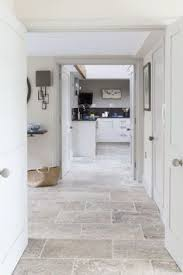 grey tumbled limestone kitchen floor tiles http