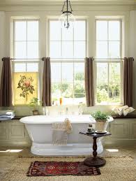 large window treatment ideas country style bathroom with free standing tub in white stationary