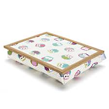 lap tables for eating lap tray cushion owls pattern by blue badge co notonthehighstreet com