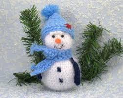knitted snowman ornament table decor stuffed