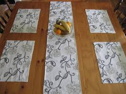 table runner placemat set table runner 4 placemat set black white emboidered flowers
